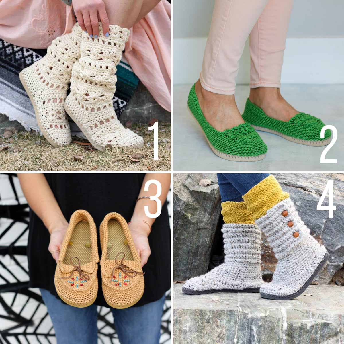 Free patterns for crochet shoes with flip flop soles. Includes a pair of crochet slides, crochet moccasins, crochet ugg-style boots, and crochet Lacey boots.