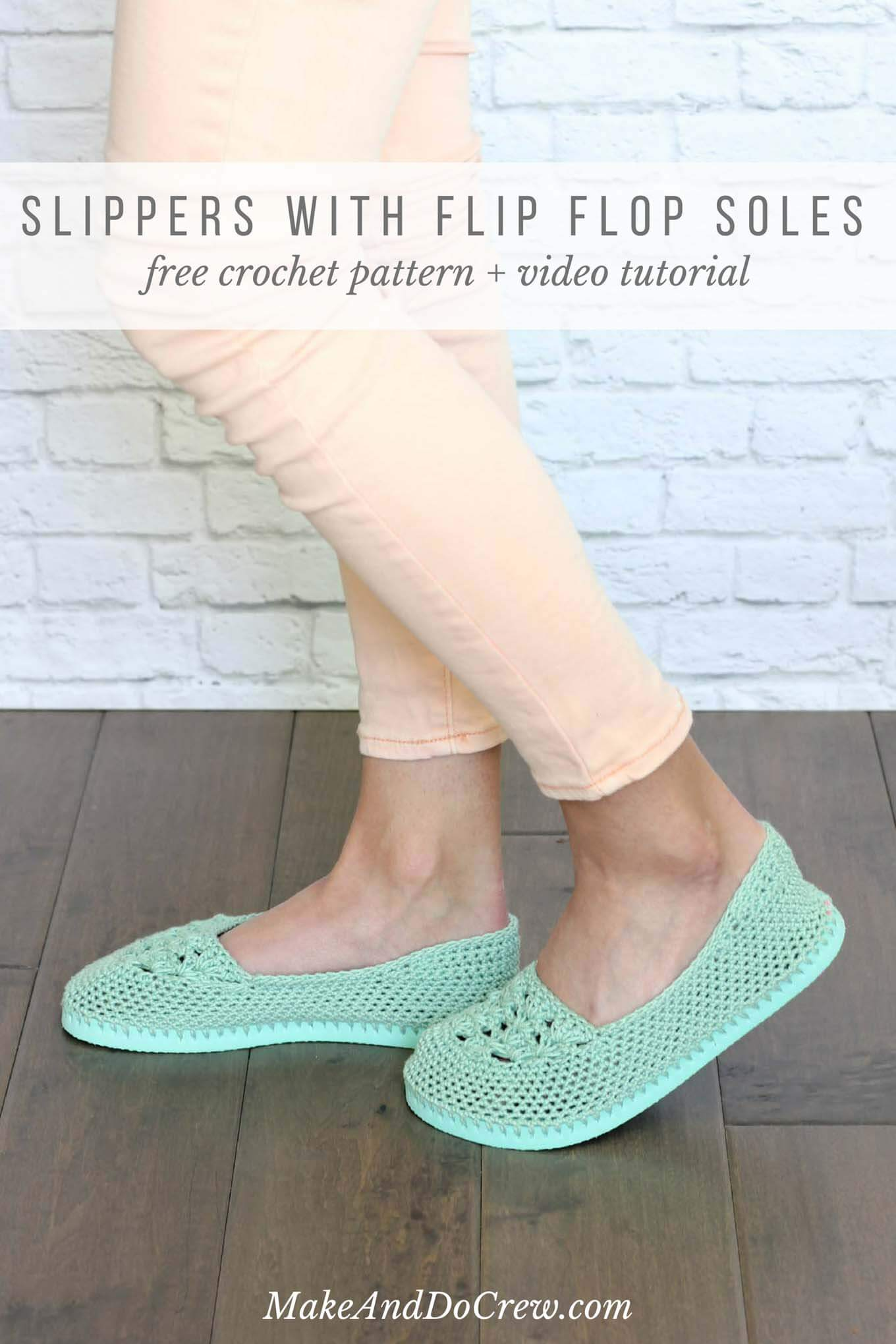 f0bb843772d4 Cotton yarn and a rubber sole make this free crochet slippers with flip flop  ...