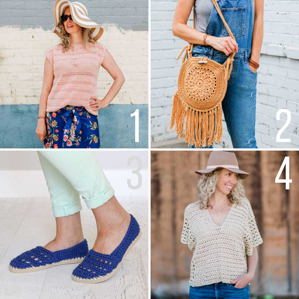Free crochet patterns for warm weather. Includes two crochet tops, a crochet purse with fringe, and crochet slip-on shoes.
