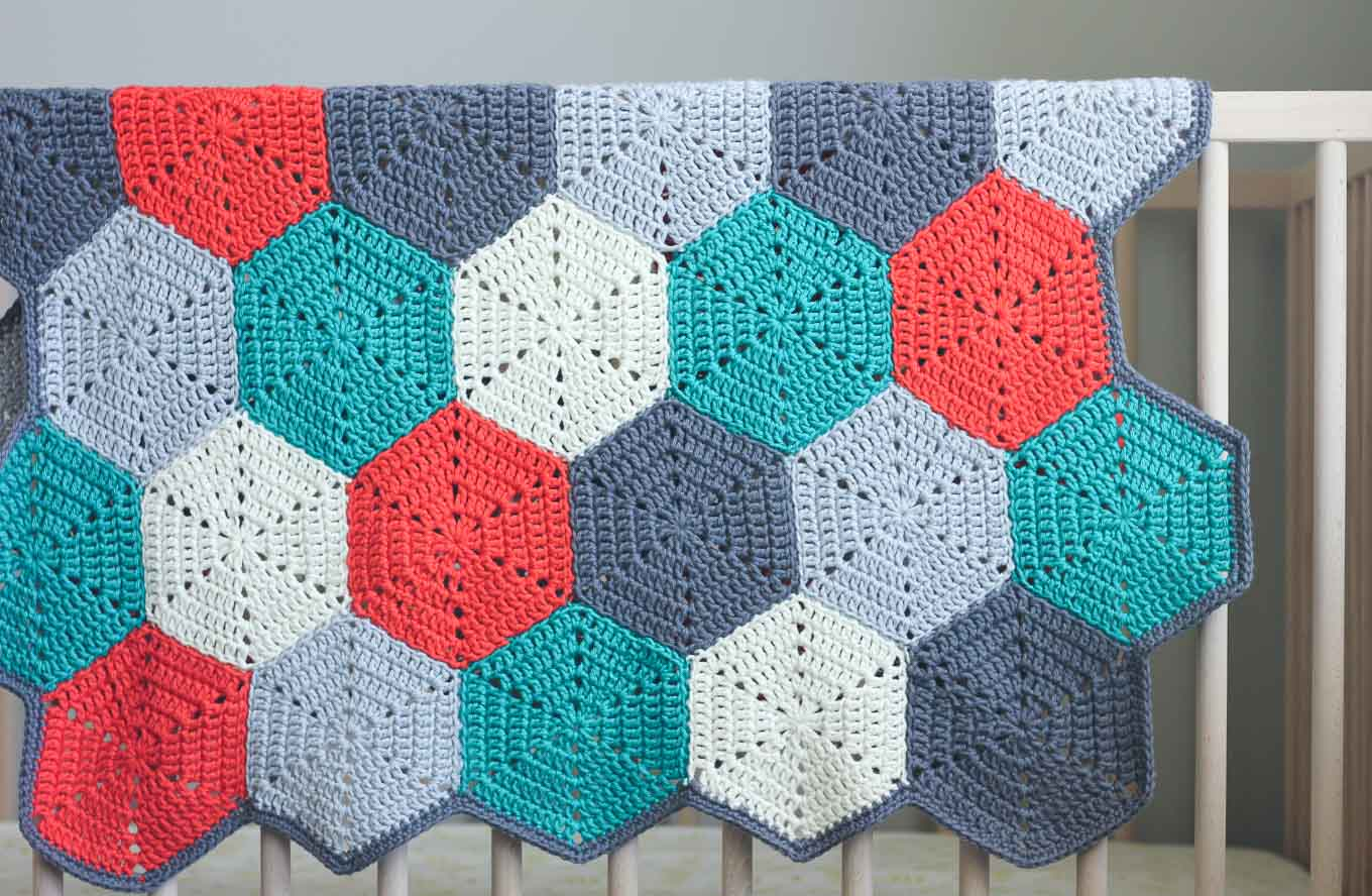 """Happy Hexagons"" Free Crochet Afghan Pattern - Make & Do Crew"