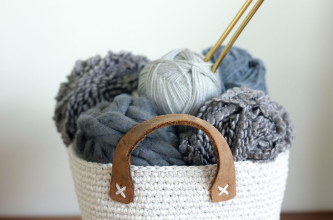 Dollar Store Twine + Thrifted Belt Free Crochet Basket Pattern