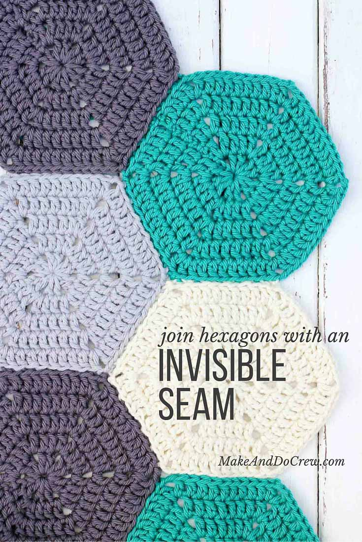 This photo tutorial will show you how to join crochet hexagons with a technique that results in an invisible seam. Great for sewing hexagons together for an afghan, but can also work for granny squares or other crochet pieces. | MakeAndDoCrew.com