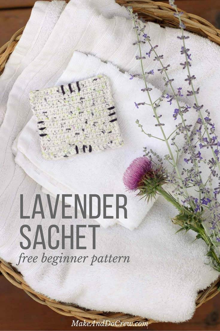 This free crochet pattern is perfect for beginners and a great way to use up dried lavender from your garden! Pop one of these crochet dried lavender sachets in the dryer and you've got natural and inexpensive way to keep your laundry smelling fresh! | MakeAndDoCrew.com