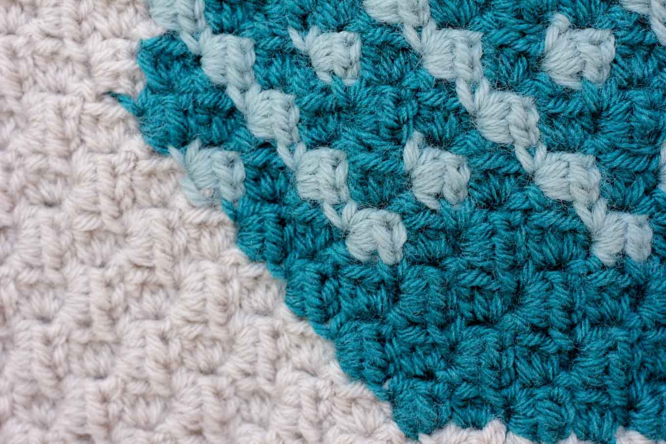 What the texture of c2c crochet (corner to corner) looks like.