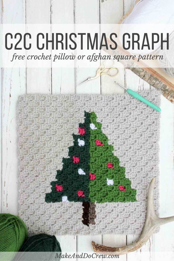 Corner to Corner Crochet Christmas Tree - Free Pattern