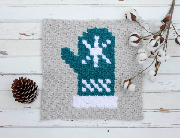 This mitten is the fifth of nine in my series of C2C Crochet afghan graph patterns. This free mitten square pattern looks charming as part of the Christmas sampler afghan or you could make an afghan entirely of different colored mitten blocks.