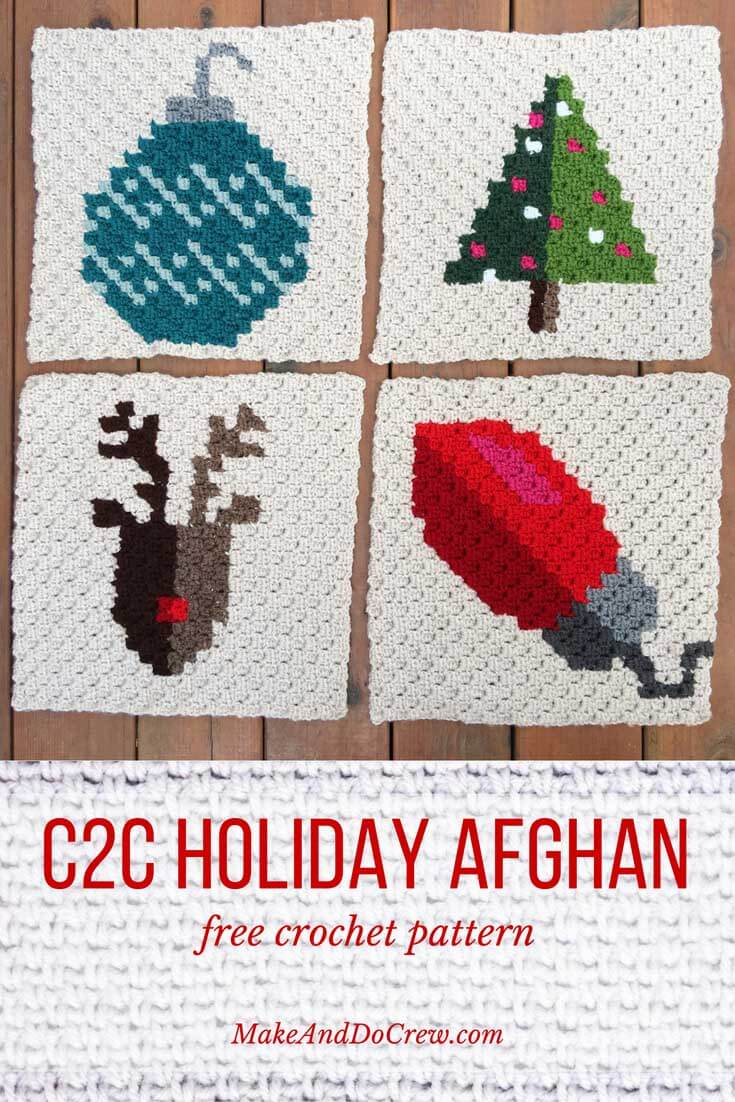 A Christmas holiday sampler afghan with 9 free crochet patterns using the c2c (corner to corner) technique and Lion Brand Vanna's Choice yarn.