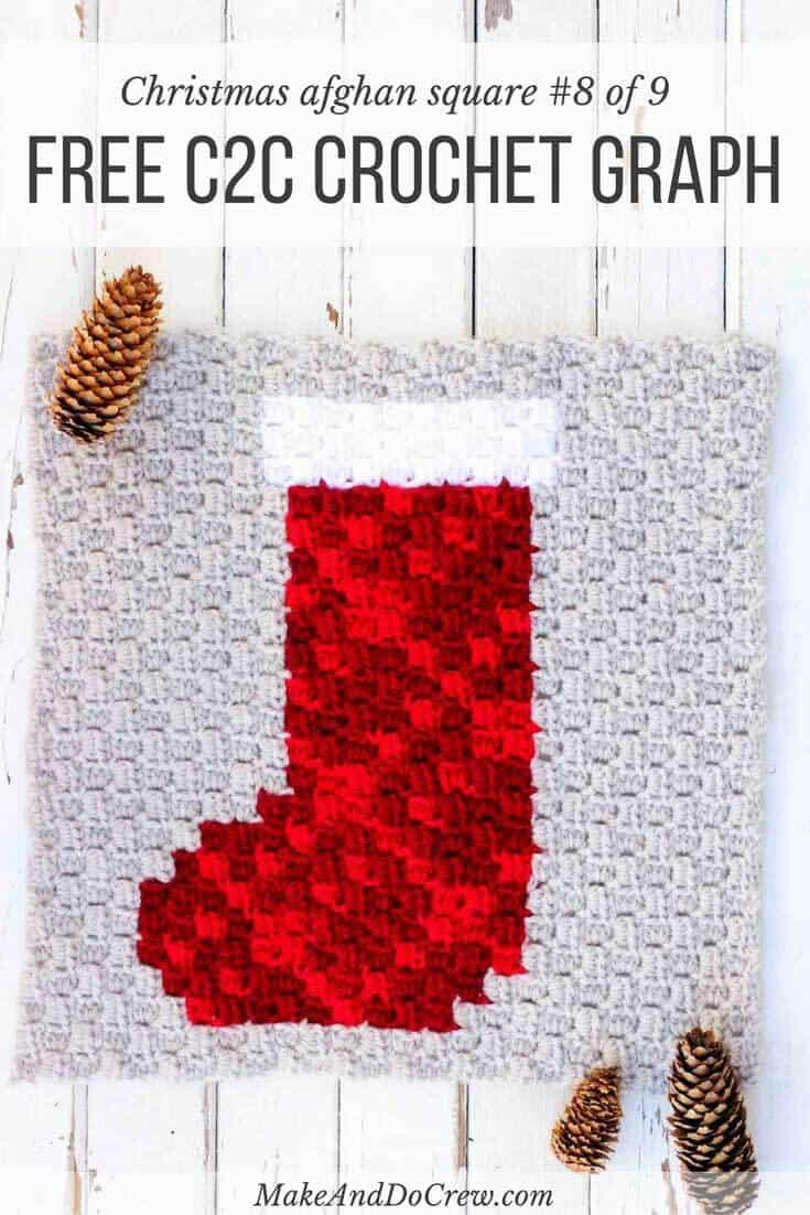 free crochet pattern modern c2c xmas stocking make u0026 do crew
