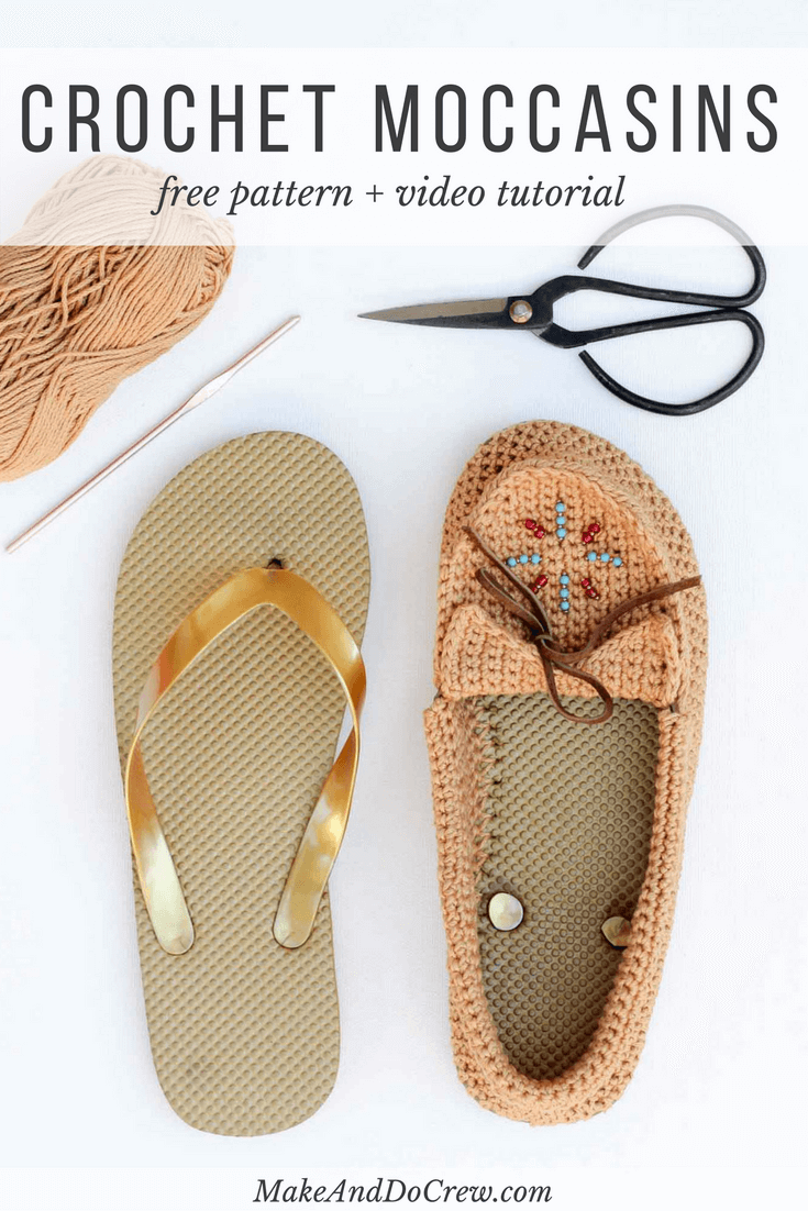 "Learn how to crochet shoes with flip flop soles with this free crochet moccasin pattern and video tutorial! These crochet moccasins make super comfortable women's shoes or slippers and can be customized however you wish. Made from Lion Brand 24/7 Cotton in ""Camel"" color."
