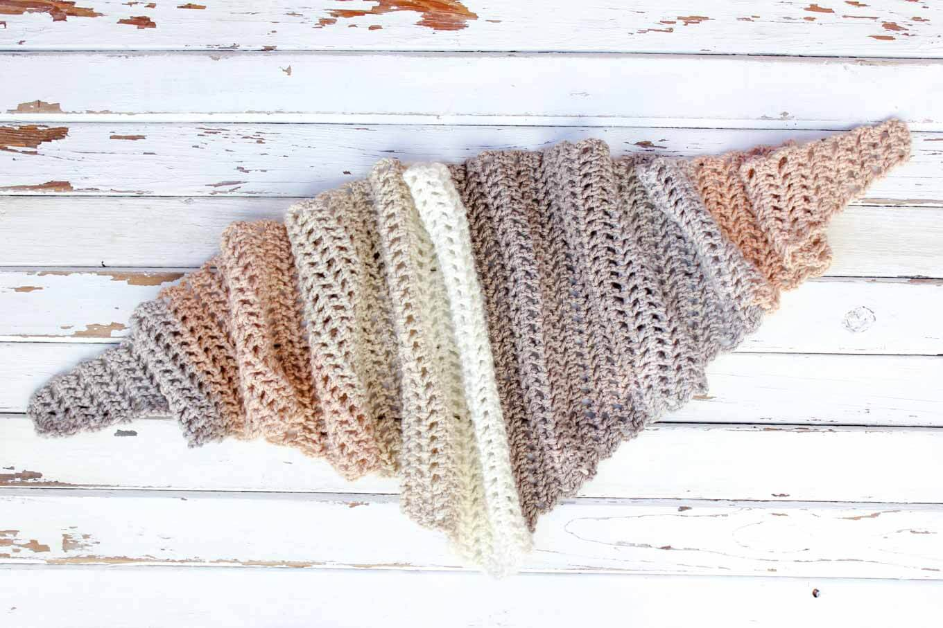 Free Caron Cakes Crochet Pattern - Desert Winds Triangle Scarf