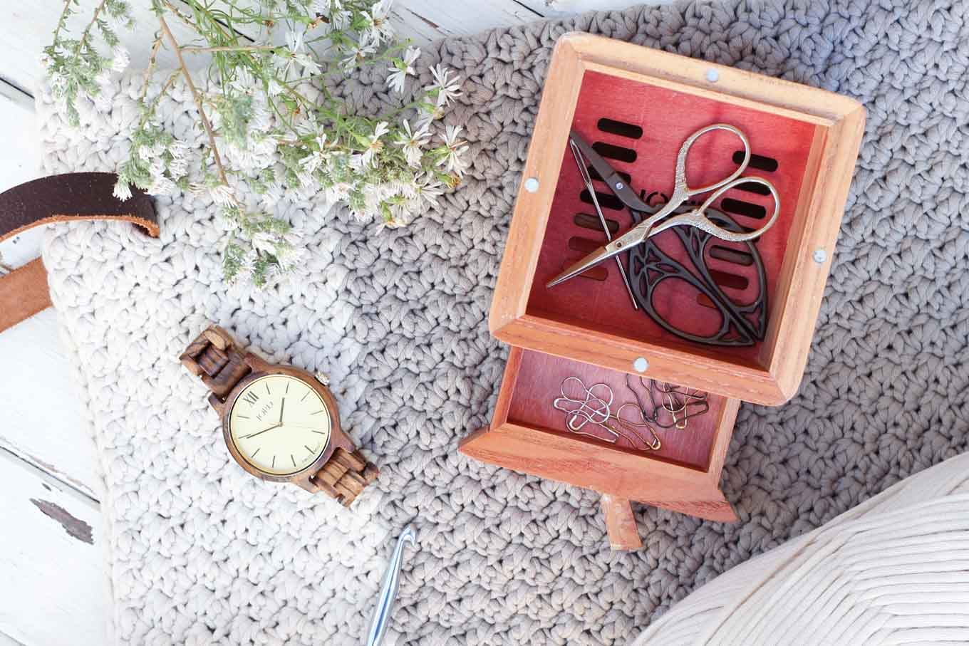 How to store your craft supplies using a wooden watch box from JORD Wood Watches. Crochet bag made with Bernat Maker Home Dec yarn.