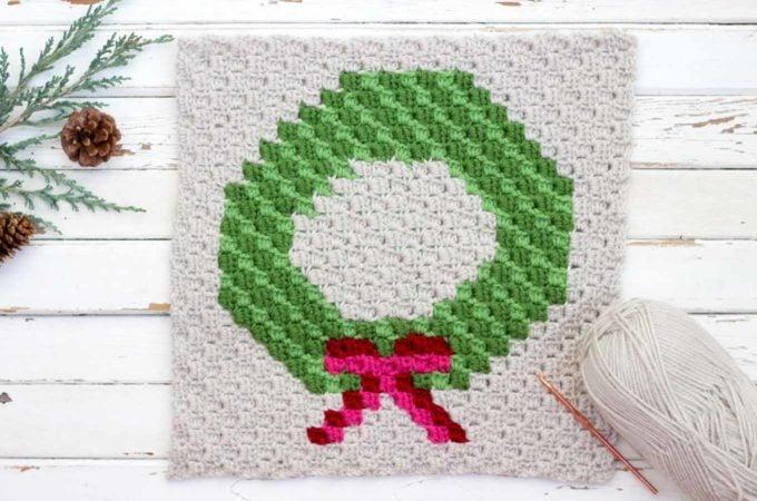 Wreath Corner-To-Corner Christmas Crochet Pattern