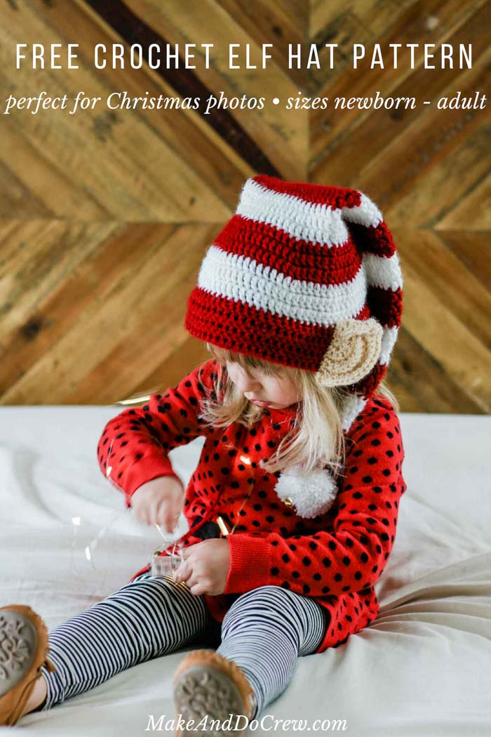 8a6341672 Santa's Helper Free Crochet Elf Hat Pattern (With Ears!)