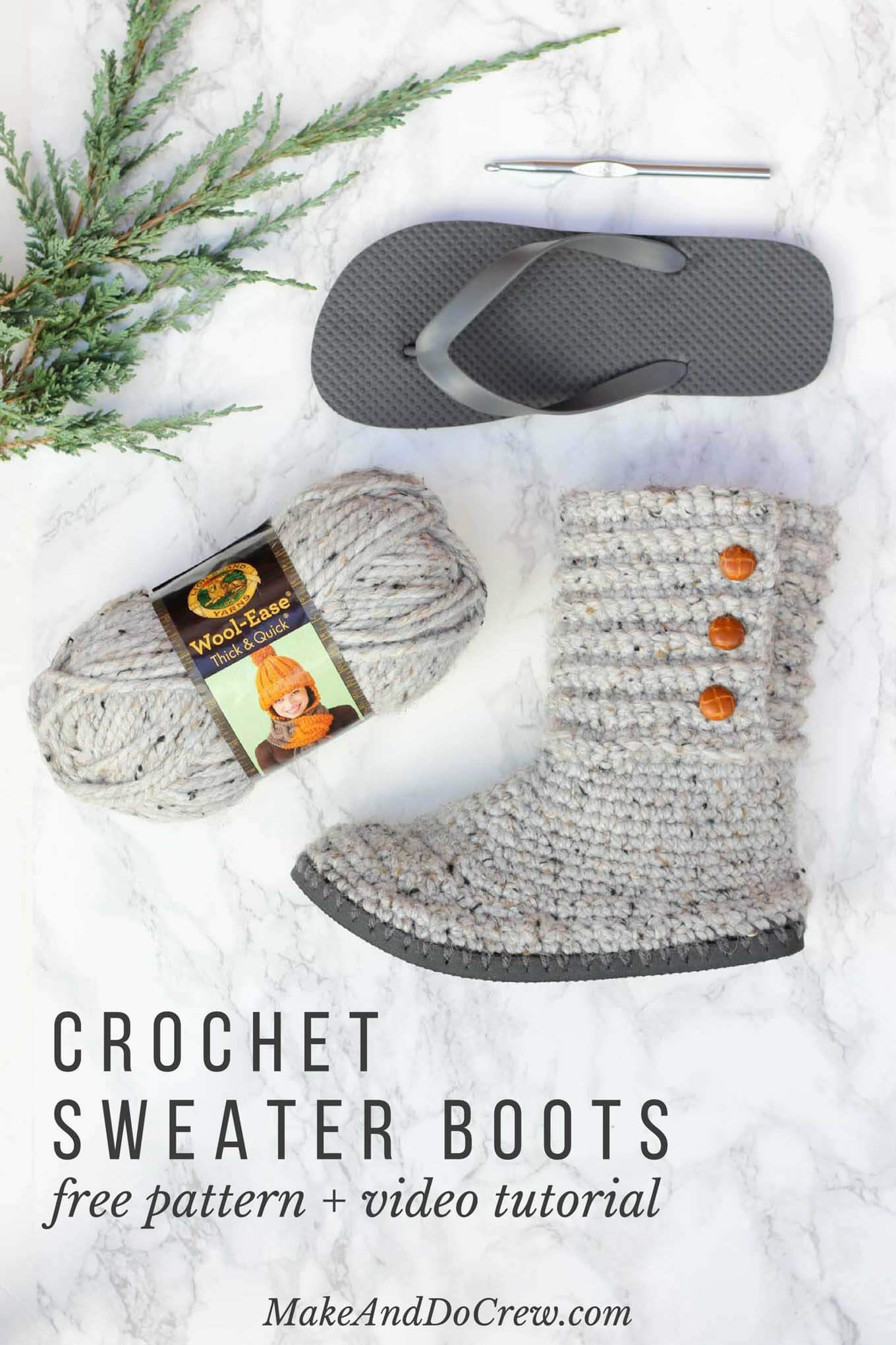 With this free pattern and crochet video tutorial you can make your own look-a-like crochet Uggs! These crochet UGG boots with flip flops for soles make great outdoor shoes or house slippers. Made with Lion Brand Wool Ease Thick and Quick in Grey Marble.With this free pattern and crochet video tutorial you can make your own look-a-like crochet Uggs! These crochet boots with flip flops for soles make great outdoor shoes or house slippers. Made with Lion Brand Wool Ease Thick and Quick in Grey Marble.
