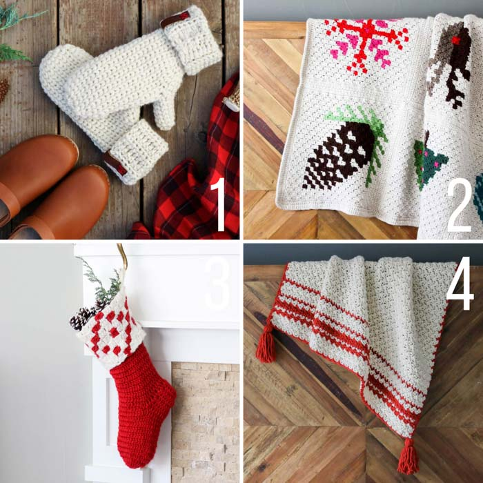 Free crochet Christmas patterns including a graphgan, a tasseled throw, mittens and a c2c crochet stocking.