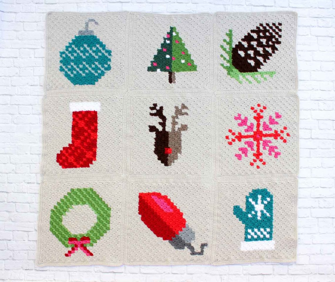 Free C2C Christmas afghan pattern sewn together using the mattress stitch. This video tutorial will teach you how to make invisible seams for your crochet afghan projects.