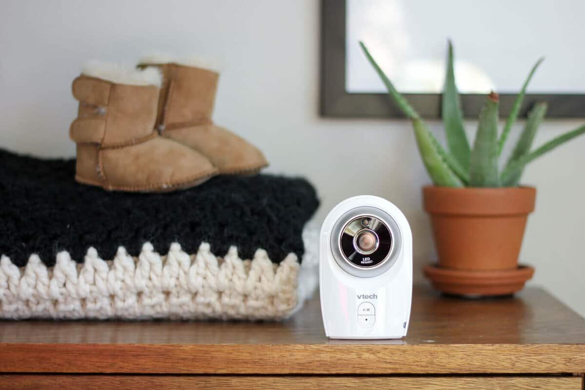 VTech VM341-216 Bear 2 Camera Full Color Baby Monitor in mid century modern nursery