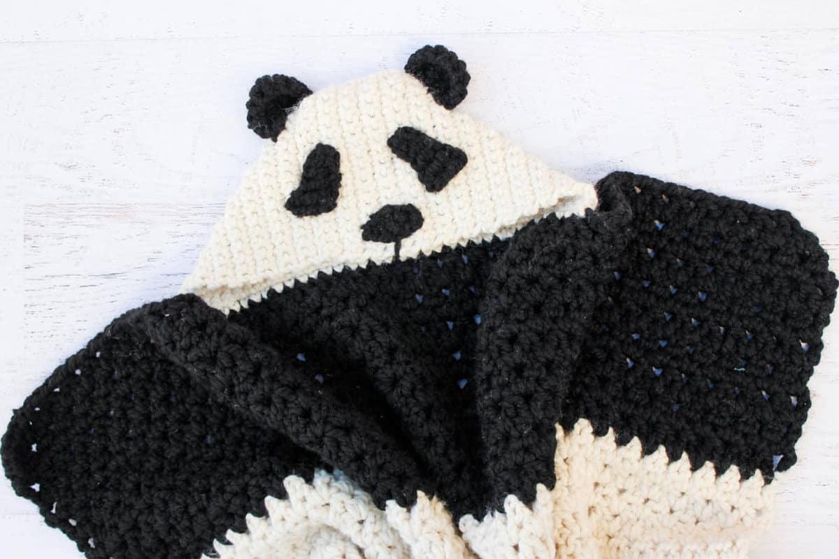 Crochet Panda Hooded Baby Afghan Free Pattern Make Do Crew
