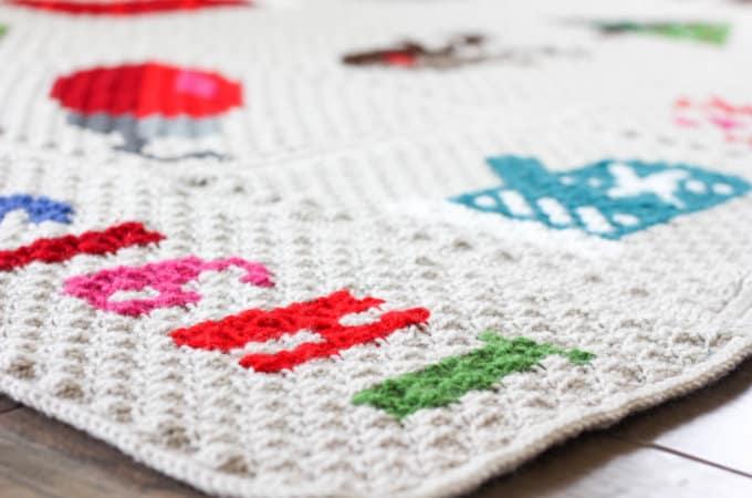 Modern Corner To Corner Crochet Christmas Afghan – Free Pattern!
