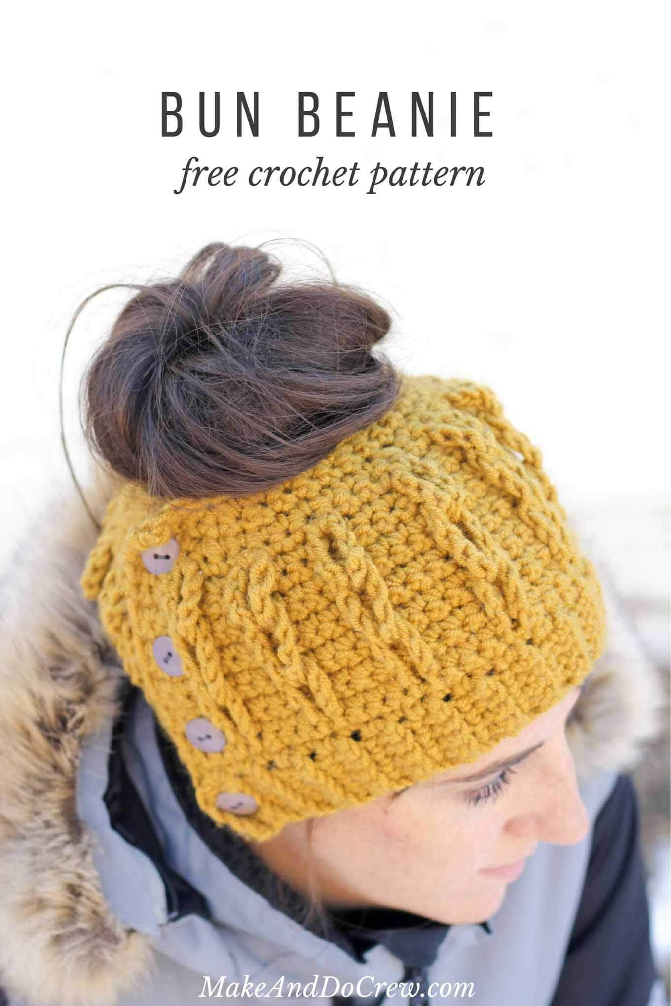 Crochet Patterns Messy Bun Beanie : Crochet Bun Beanie with Faux Cables - Free Pattern and Video Tutorial!