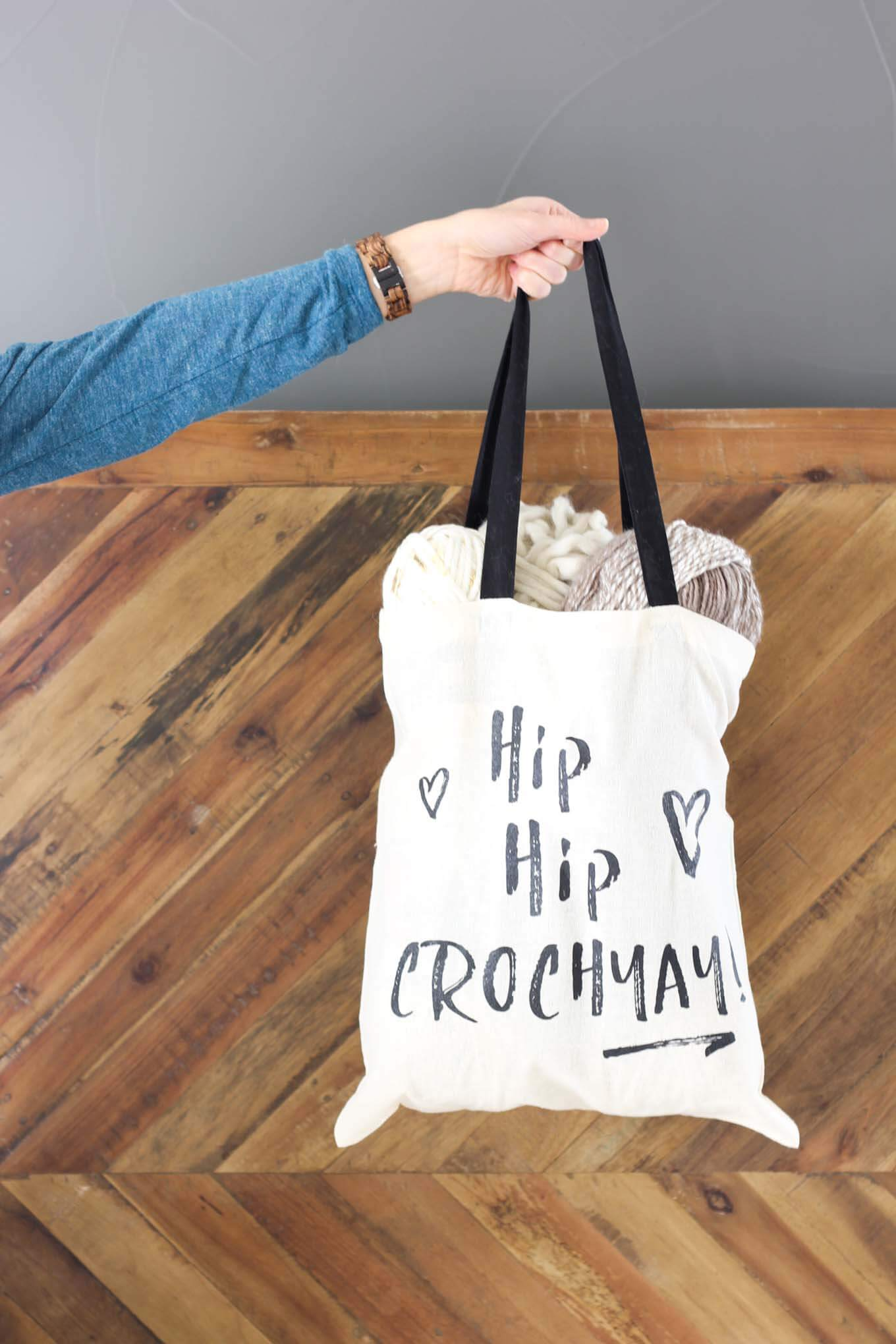 Hip Hip Crochyay tote bag for carrying all your latest projects