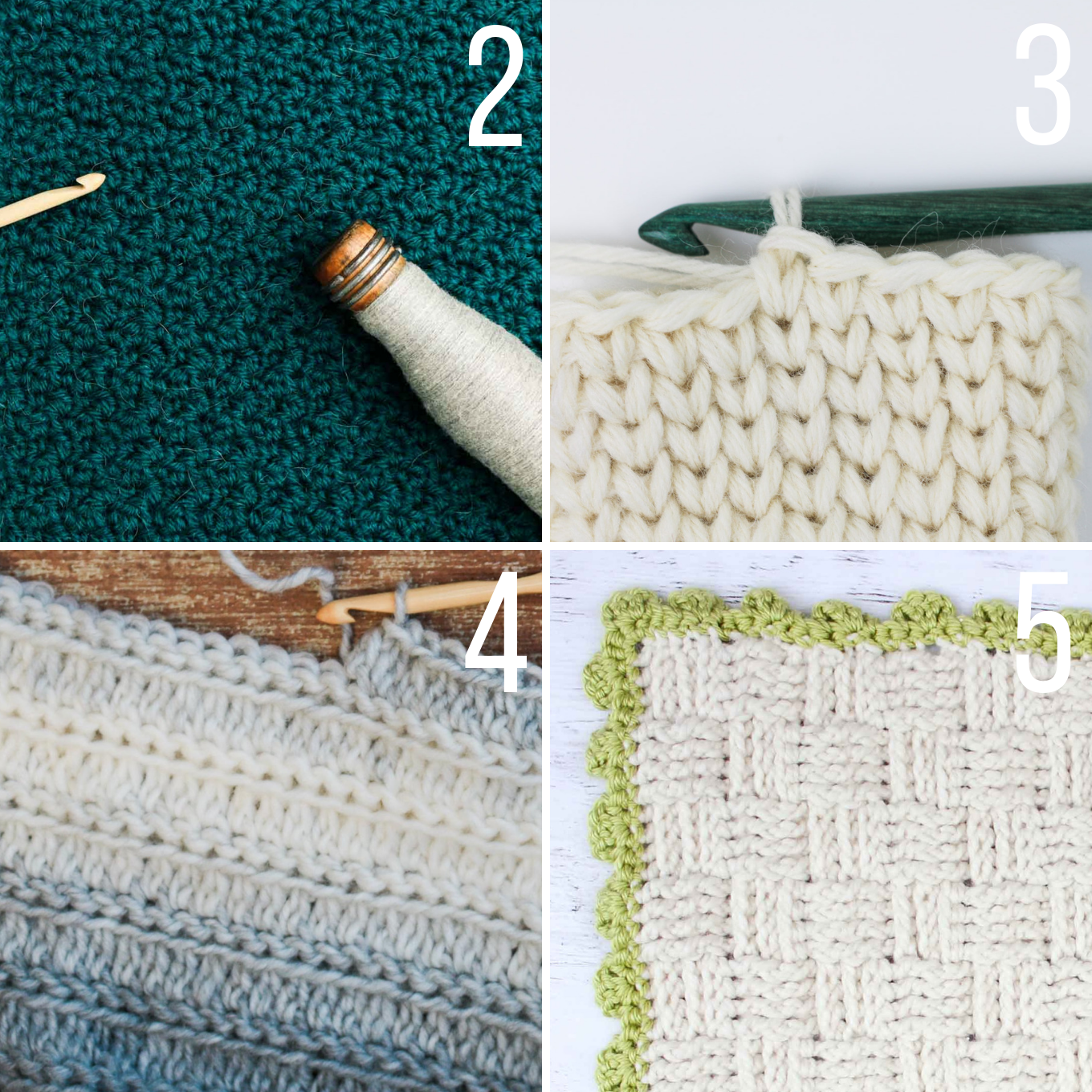This collection of crochet stitches for blankets and afghans includes several video tutorials that are perfect for beginners.
