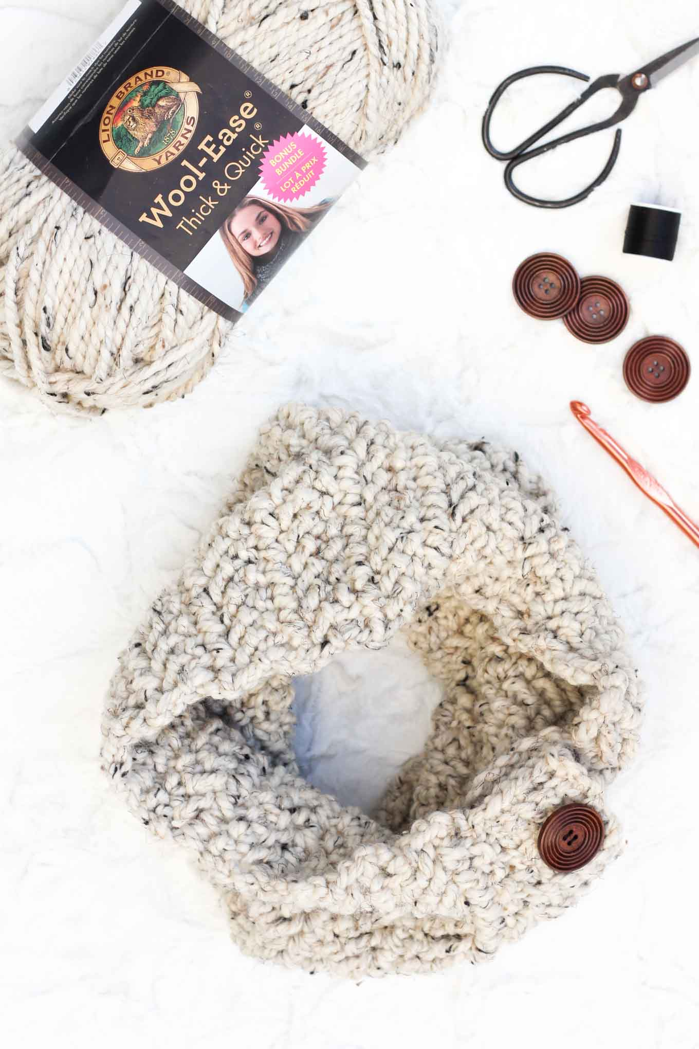 "Lion Brand Wool Ease Thick & Quick Bonus Bundle in ""Oatmeal"""