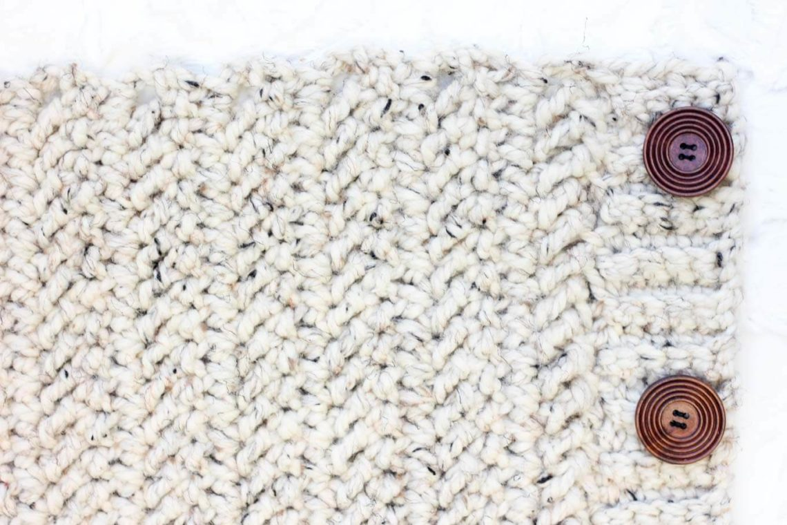 "Learn how to crochet the herringbone double crochet stitch in this easy video tutorial. This modern-looking stitch is great for afghans, scarves and striped projects. Because it's based on double crochet, it also worked up really quickly! Lion Brand Thick and Quick in ""Oatmeal"" pictured."