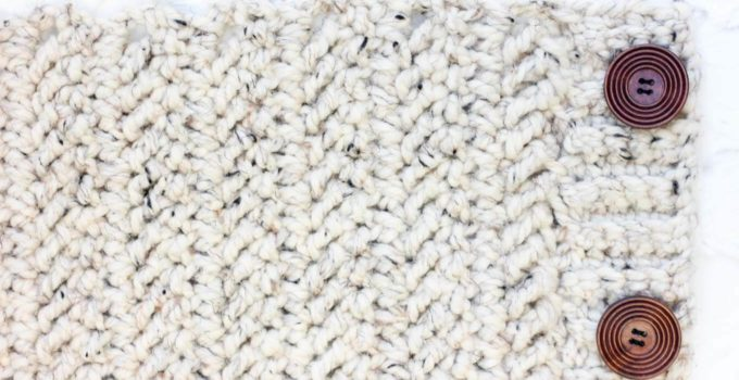 """Learn how to crochet the herringbone double crochet stitch in this easy video tutorial. This modern-looking stitch is great for afghans, scarves and striped projects. Because it's based on double crochet, it also worked up really quickly! Lion Brand Thick and Quick in """"Oatmeal"""" pictured."""