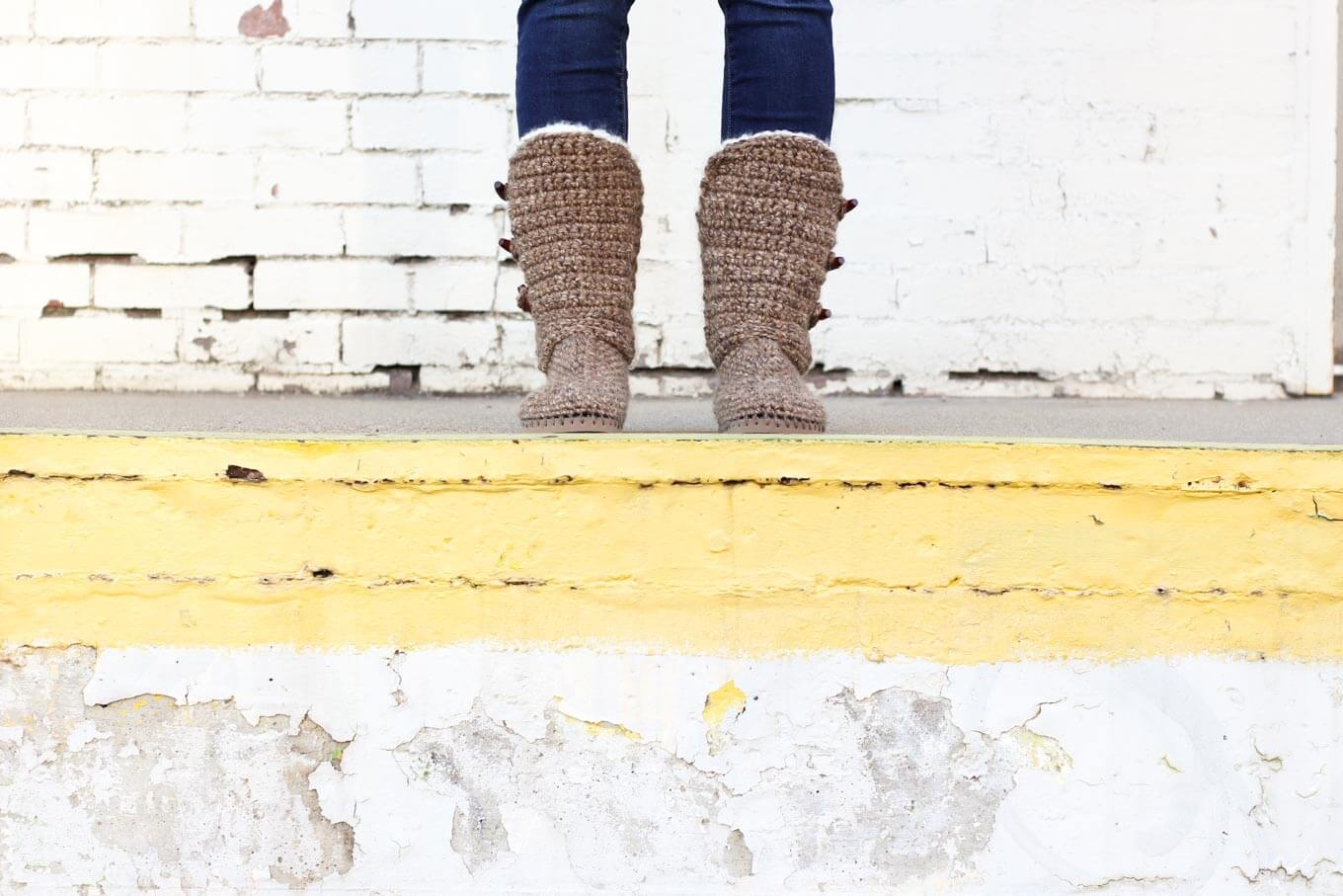 """Want to learn how to make your own crochet shoes step-by-step? In Part 2 of the free Breckenridge crochet boots pattern and video tutorial, we'll work the front and back of the ankle shaft. Made with Lion Brand Wool Ease Thick & Quick in """"Toffee."""""""