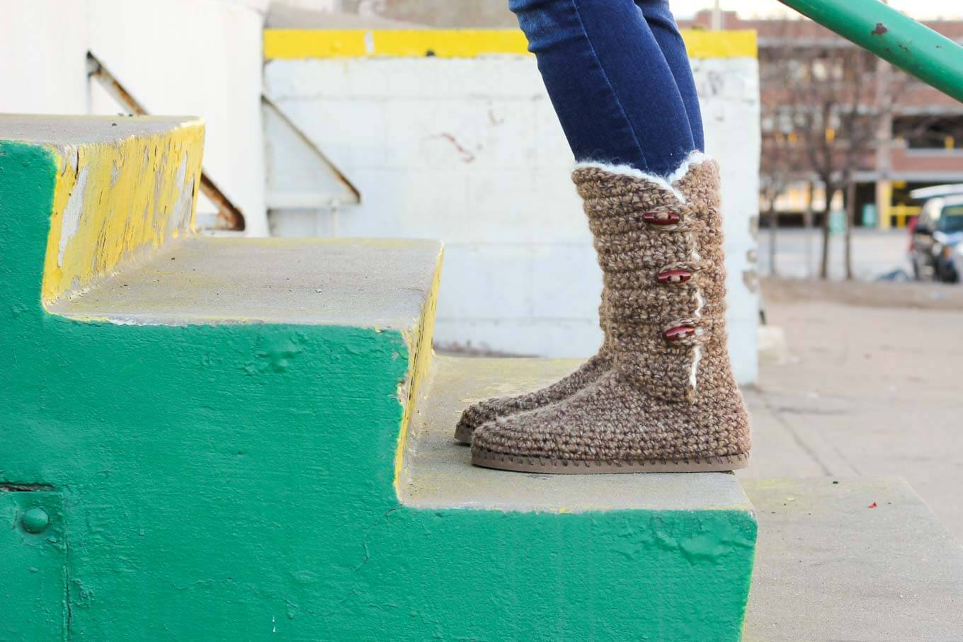 "Learn how to make ""Breckenridge"" Boots with flip flop soles in Part 1 of this free crochet pattern and video tutorial. This adult-sized pattern makes super cozy slippers or even crochet shoes to wear outside. Made with Lion Brand Wool Ease Thick and Quick in ""Toffee."""