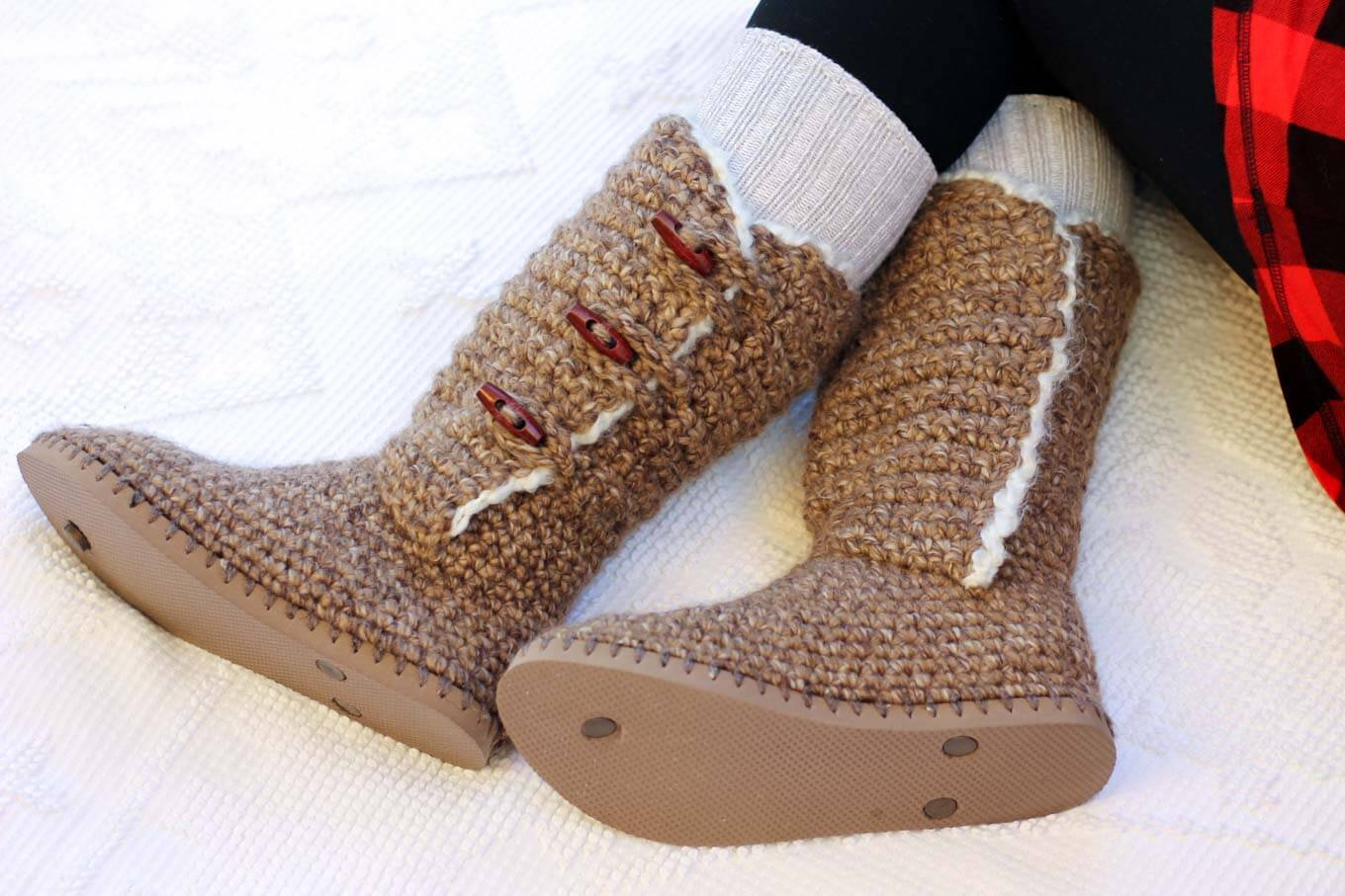 "Free crochet slippers with flip flop soles pattern. Made using Lion Brand Wool Ease Thick & Quick in ""Toffee."""