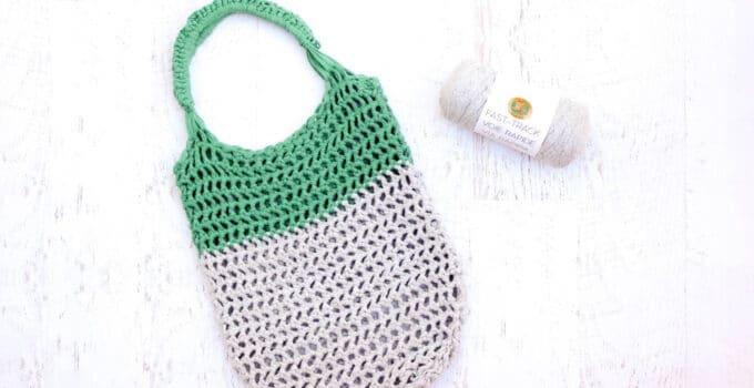 Free modern crochet tote bag pattern using Lion Brand Fast-Track yarn from MakeAndDoCrew.com.