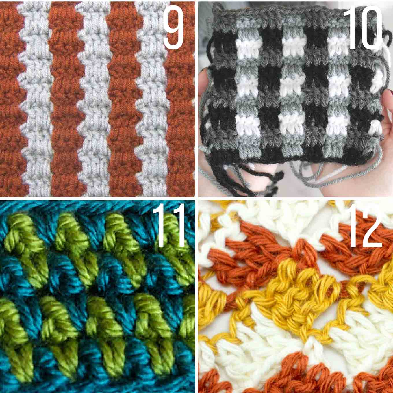 Each of these stitch tutorials is made using multiple colors of yarn to create stunning effects! This crochet stitches list has something for everyone--beginner to advanced.