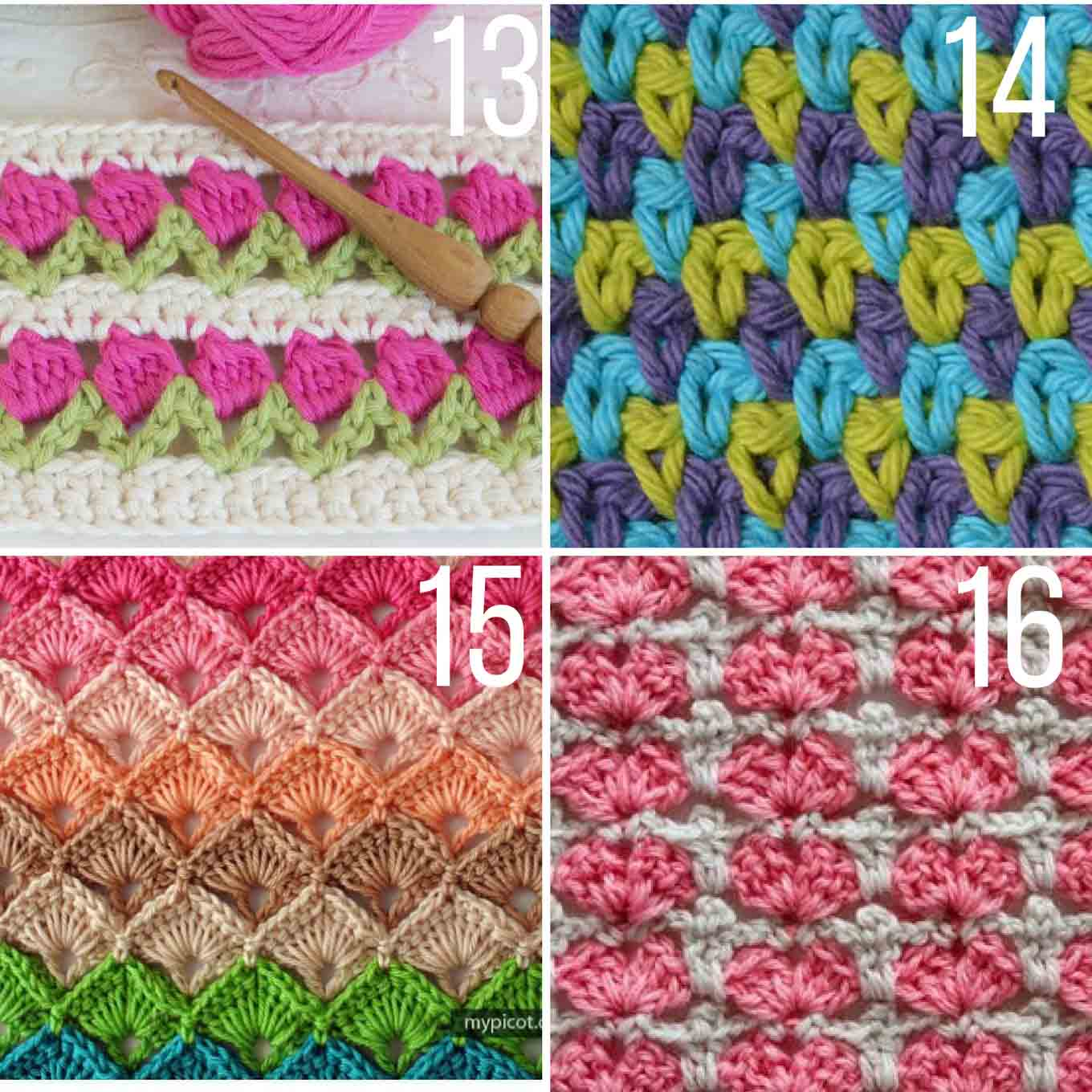 Gorgeous crochet stitch tutorials using many colors of yarn in one pattern.