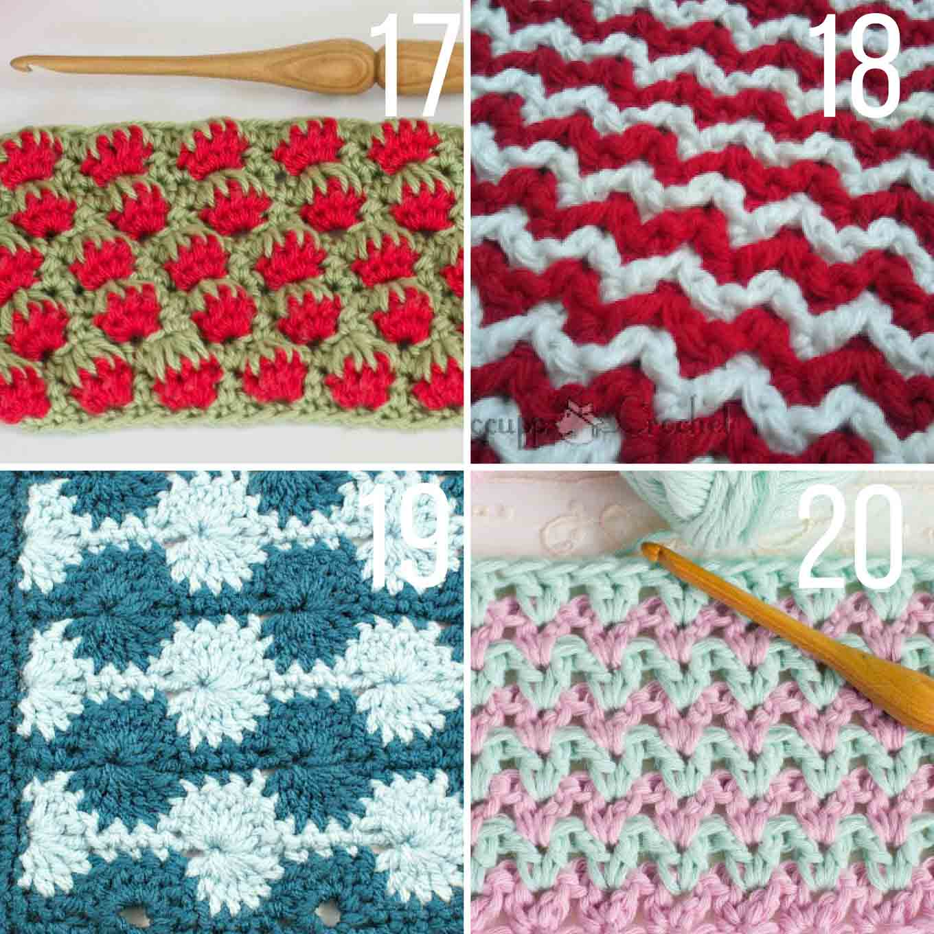 Collection of crochet stitches that uses two or more colors of yarn at once.