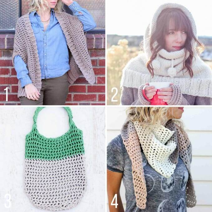 Free bohemian crochet patterns from Make and Do Crew including a sweater, scarves and a tote bag.