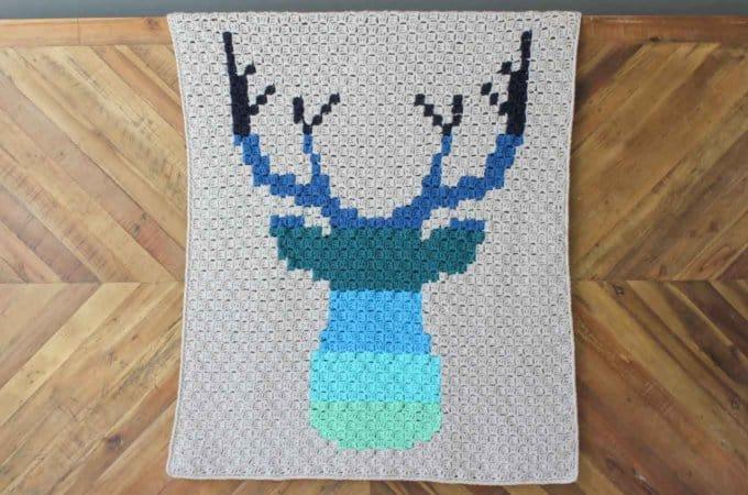 Corner to Corner Crochet Deer Afghan – Free C2C Pattern