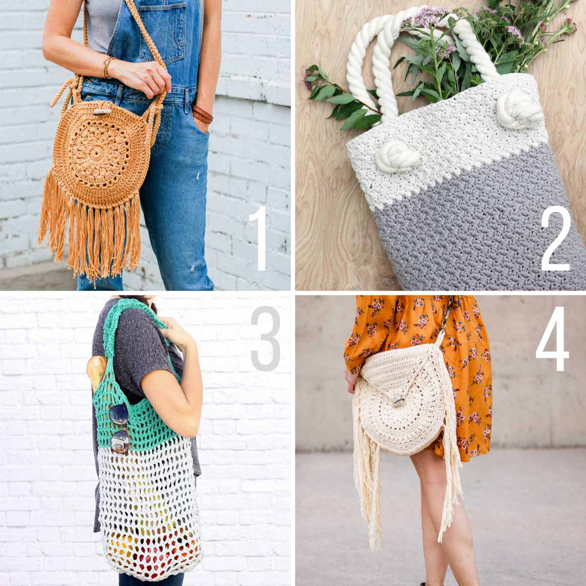 Free crochet patterns for purses and bags.