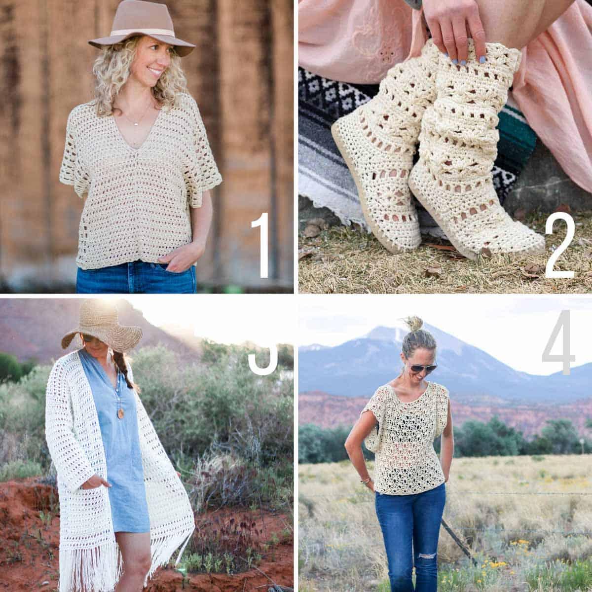 Bohemian style free crochet patterns.