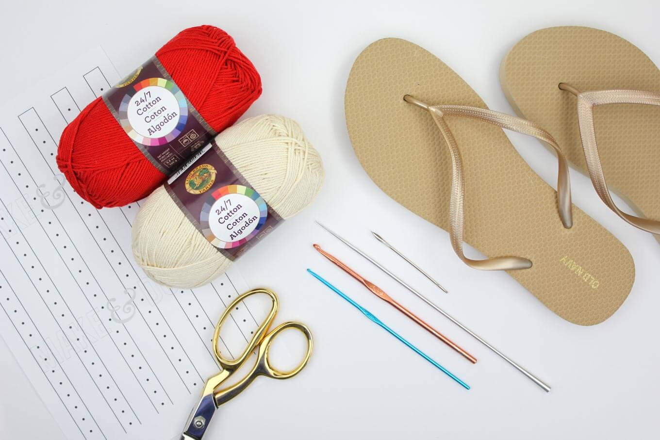 "Supplies! Learn how to make crochet espadrilles with flip flop soles in this free pattern and tutorial from Make and Do Crew! These crochet sandals feature Lion Brand 24/7 Cotton in ""Red."""