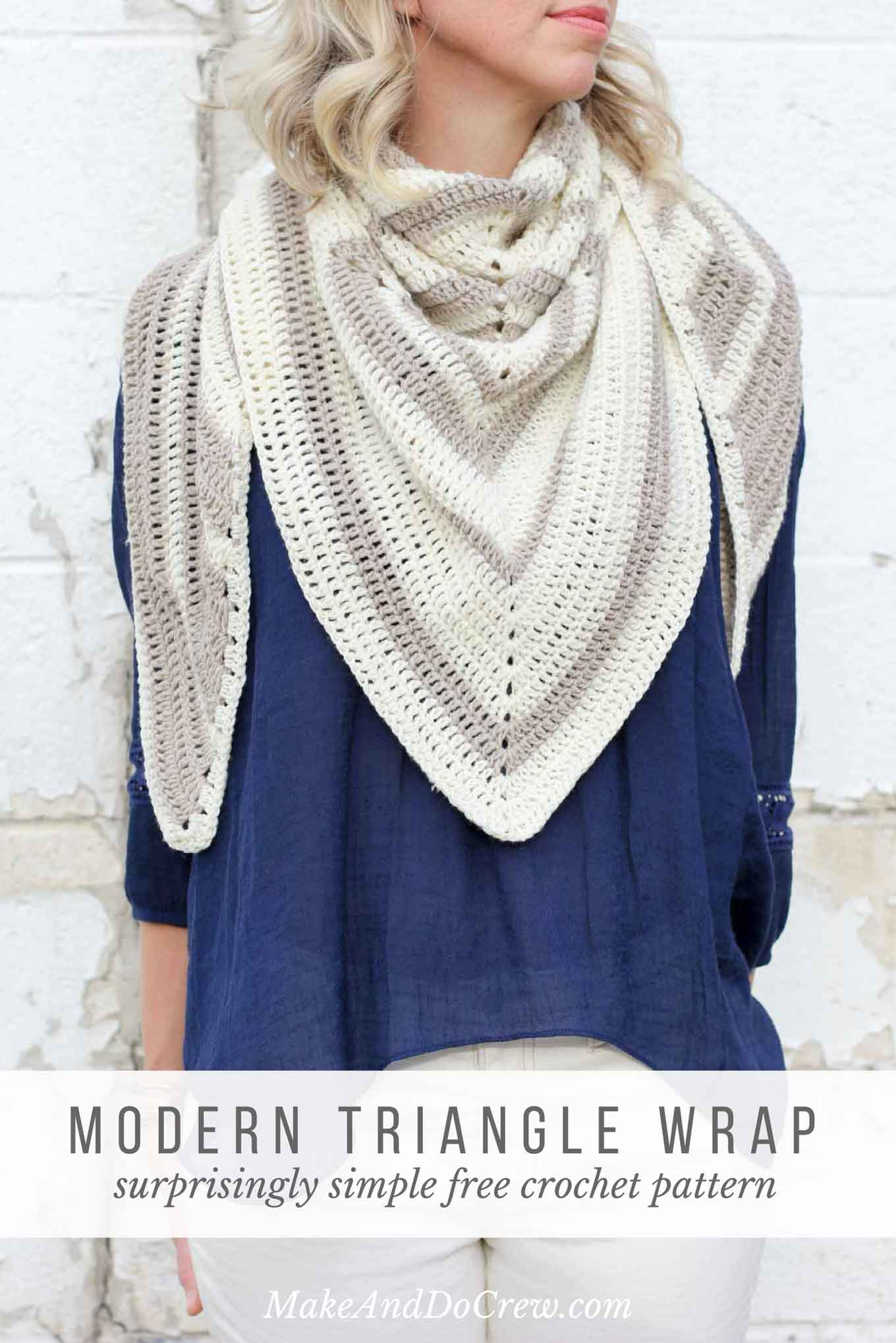 "This free modern scarf crochet pattern is surprisingly simple to make and its lightweight weave makes it a perfect wrap to throw on for chilly summer nights. Easy beginner crochet pattern made from Lion Brand Superwash Merino in ""Hemp"" and ""Ivory."""
