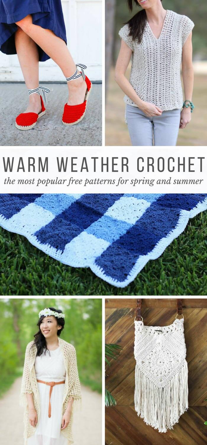 No crochet hibernation! This collection of popular spring and summer crochet patterns using Lion Brand yarn will give you plenty of ways to stay busy during the warmer months--and best of all, they're all free! Includes crochet tops, blankets and shoes with flip flop soles!
