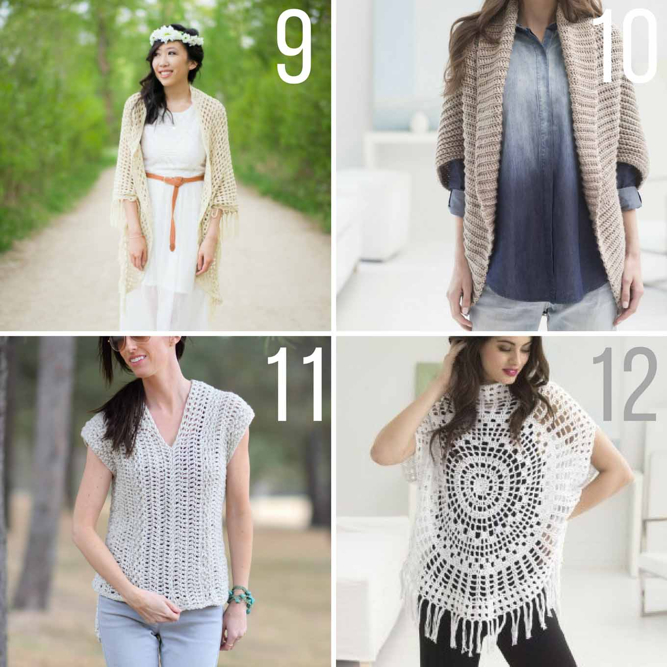 No crochet hibernation! This collection of popular spring and summer crochet patterns using Lion Brand yarn will give you plenty of ways to stay busy during the warmer months--and best of all, they're all free! Crochet shawls, crochet shrugs and crochet shirts are all included!