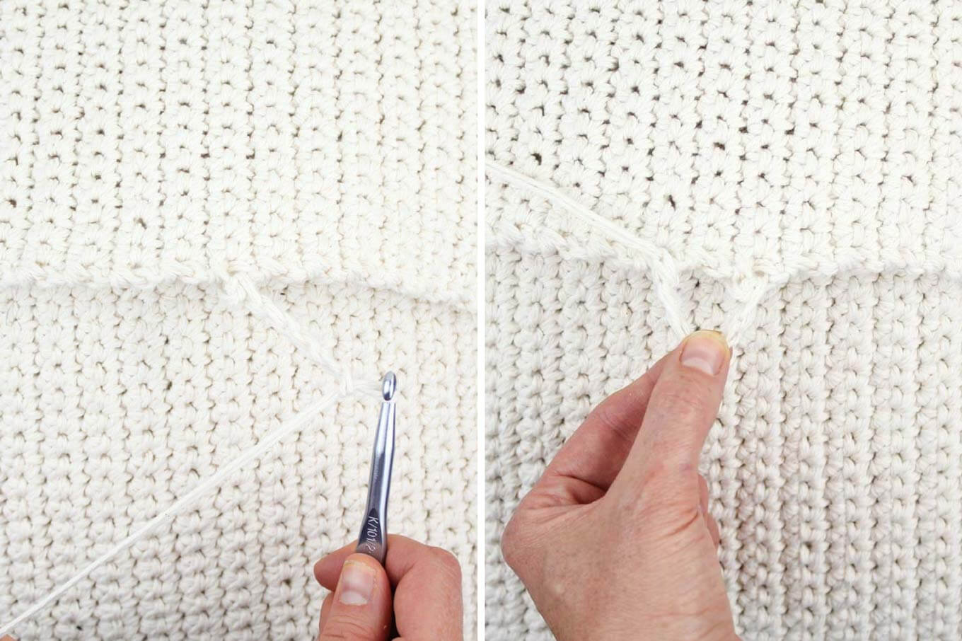 How to make crochet button loops to close a pillow.