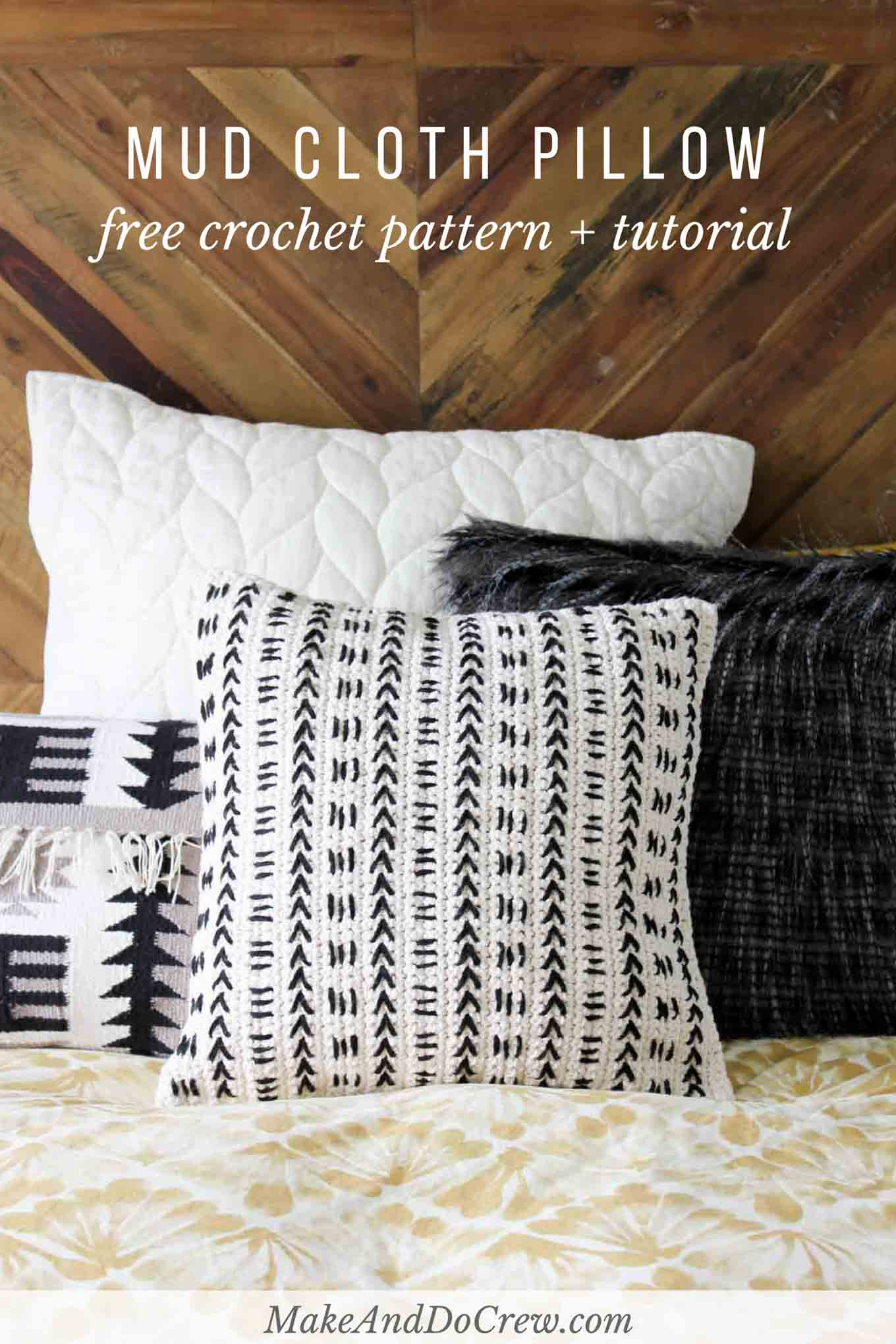 Mud Cloth Crochet Pillow Pattern - Free Pattern! - Make & Do Crew