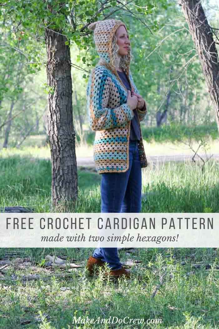 So doable! This easy crochet sweater pattern is made using two granny stitch hexagons. Get the free pattern using Lion Brand New Basic 175 yarn from MakeAndDoCrew.com.