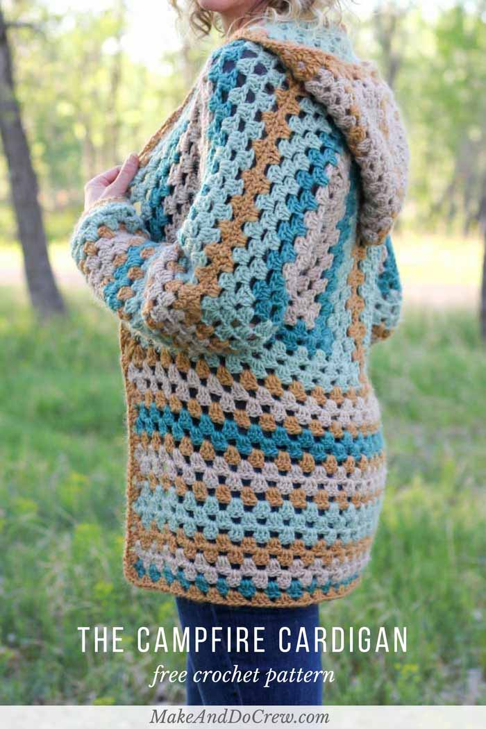 "Believe it or not, two simple granny hexagons are the foundation of this free crochet hexagon sweater pattern. ""The Campfire Cardigan"" is made with Lion Brand New Basic 175 in Juniper, Cafe Au Lait, Thyme and Camel. Great beginner crochet sweater pattern!"