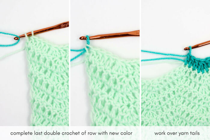 How to change colors in crochet. Easy tutorial from MakeAndDoCrew.com