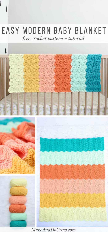 Modern Ripple Crochet Baby Blanket Pattern Make Do Crew